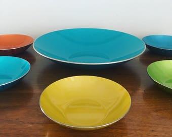 Set of 6 Emalox of Norway enamelware bowls