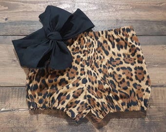 Leopard bloomers Outfit Headwrap Bloomer Set Black Headband Baby Bubble Shorts