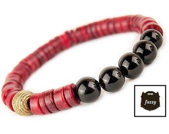 Men's Bracelet Red Tribal Mens bracelet Men Bracelet homme Nomad Bracelet Men's African bracelet red bangle Men's Beaded bracelet
