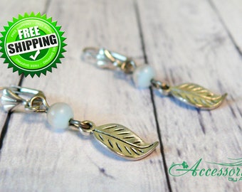 Leaf earrings Nature earrings White earrings Leaf jewelry Boho earrings Crystal earring Gemstone Gift Ideas Yoga gift Nature Cat's Eye Stone