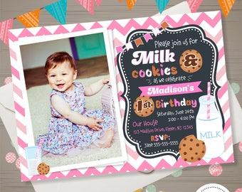 Milk and Cookies Invitation with PHOTO Girls Milk and Cookies Birthday Chocolate chips cookies Invitation Chevron Pink White First Birthday