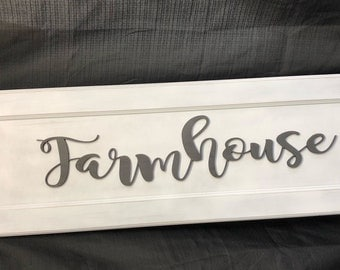 "Engraved ""Farmhouse"" wooden sign.  Can personalized to own colors or size.  Painted, sanded, and letters cut out with engraver."
