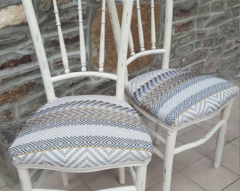 2 ethnic jacquard chairs