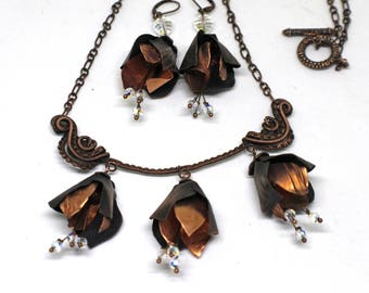 """Copper flowers set """"Twelve Months"""" 