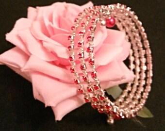 Scarlet Rhinestone Wrap Bracelet