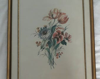 Antique Flower Print Framed
