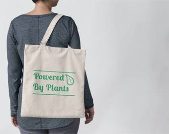 Powered by Plants Tote Bag | Plant Powered Tote Bag | Vegan Tote Bag | Vegetarian Tote Bag | Farmer's Market Bag