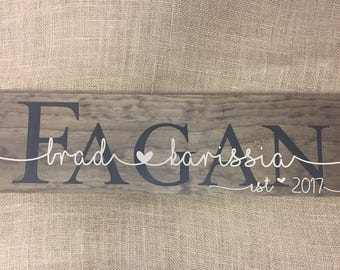 Last Name Sign - Wedding Gift for Couple - Family Name Sign - Rustic Wedding Sign - Family Name Established Sign - Gift for Newlyweds