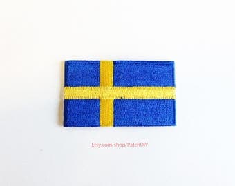 1x SWEDISH flag iron on patch Sweden Stockholm north Europe World trip backpack Embroidered Applique logo blue yellow