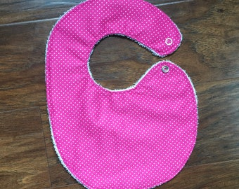 PUL Bibt, Pink Polka Dots Bib, Wipeable Bib,  Pink Dots Bib, Baby Shower Gift, Girl, Polka Dots, Pink, Bib, PUL Bib, Baby Branch Boutique