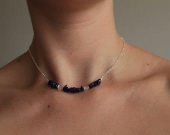 Laspis lazuli and rose quartz silver choker, sterling silver necklace, gemstone jewelry, bridesmaid, minimalist, woman, boho, delicate