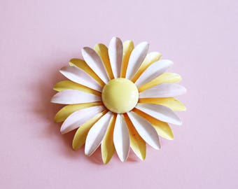 Statement Pastel Pink And Lemon Yellow 1960s Enamel Flower Brooch - Made In USA