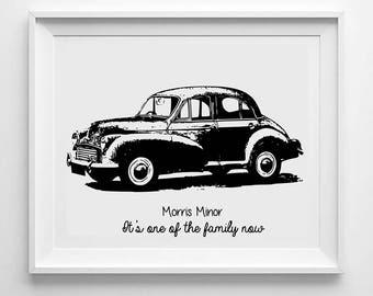 Personalised Morris Minor Print - Morris Minor Wall Art - Monochrome print Morris Minor Gift - Classic Car Gift - Mens Car Gift - Morris