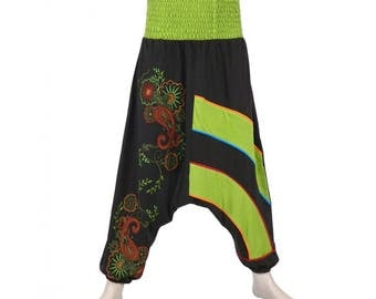 Lime green harem pants Hippie Yoga Zen Aladin Nepal embroidered cotton Smock
