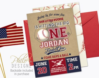 Baseball Invitation, Baseball First Birthday Invitation, Baseball Invite, Baseball Birthday Party Invitation,Vintage Baseball Invitation