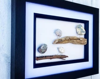 Pebble Art Birds On Branches Framed Picture Art, Beautiful Unique Beach Wall Hanging, Home Decor, Sticks And Stones Picture Frame
