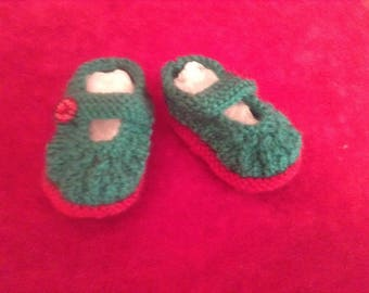 Hand knitted Baby Mary Jane Shoes