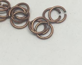 Antique Copper Jump Rings / 8mm Jump Rings / Jump Rings / Jewelry Supply / Jewelry Making / Necklace Design / Supplies