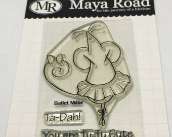 Ballet Millie Stamp Set / Mouse Ballerina / Scrapbooking / Card Making Supplies / Maya Road / pre-owned Stamp Set / Paper Craft