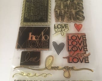 Love Wins Stamp Set / Love Stamps / Scrapbooking / Card Making Supplies / Retired Stamps / Paper Crafting / Technique Tuesday