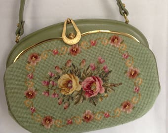 Reserved for Toto Chans Green Petit Point Tapestry Bag