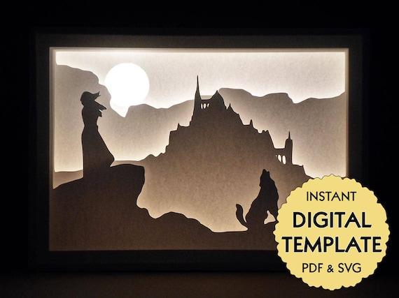 template fantasy paper cut file silhouette light box tutorial pdf svg digital download from. Black Bedroom Furniture Sets. Home Design Ideas