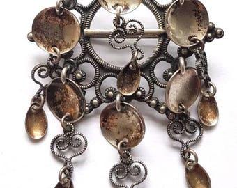 Antique Victorian Danish Norwegian 830s Silver Solje Wedding Star Brooch Pin