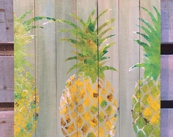 Pineapple Pallet Art, Reclaimed wood art, Welcome art, fence art, Coastal Decor, Pineapple art