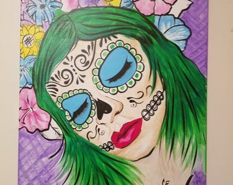Day of the Dead- Sugar Skull- canvas painting