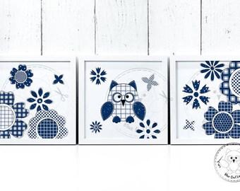 OWL IN FLOWERS. Kids room printable wall art. Kids room printable wall decor. Craft room. Digital print art. File. © Blue Owl Land Prints.