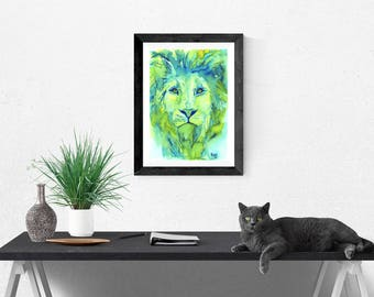 LION ART PRINT - African Art, lion, watercolor lion painting,  birthday gift, gift for her, gift for him, boys room, wall art
