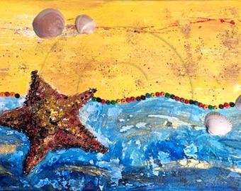 Seaside - painting on canvas unique multi-techniques summer colors