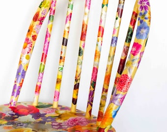 Bright and colourful  painted and decorated side chair