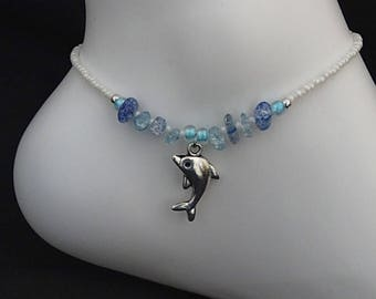 Dolphin Anklet. Blue