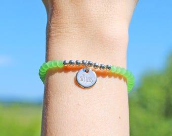Sisters bracelet of sisters pendant silver green * bead bracelet glass * beads