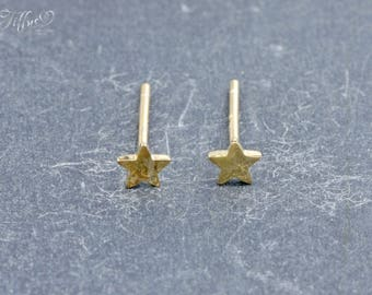 Earrings 925 sterling silver gold plated * star * stud earrings * star *.
