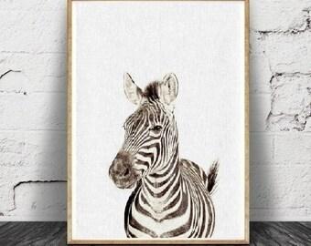 Imprimé zèbre,  Wall Art, Animal africain, décor noir et blanc,, téléchargement numérique minimaliste moderne, chambre d'enfant