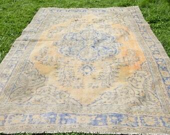 7' x 9.8' rug free blue turkish rug Unique blue and yellow oushak rug Blue Color Vintage Turkish Rug Oushak Rug Vintage Area Rug Code 1287