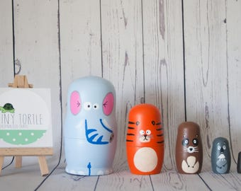 Zoo Nesting Dolls, Matryoshka Dolls, Stacking Dolls, Handpainted Dolls,  Birthday Gift,