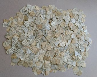 Vintage Text Scalloped Heart Confetti Upcyled, Table Decoration, Birthdays, Weddings, Scrapbooking, Junk Journalling, Paper Crafts