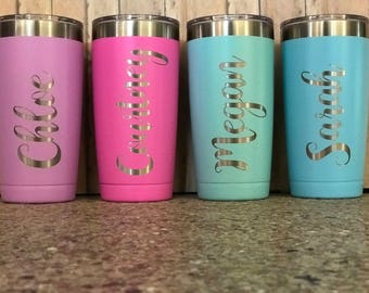 Personalized Tumbler 20 oz Custom Tumbler Coffee Tumbler Bridesmaid Gift Custom Travel Cup Tumbler Stainless Steel Tumbler Laser Design