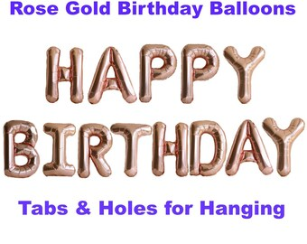 Rose Gold Birthday Decorations / Rose Gold Birthday Balloons / Happy Birthday Banner / Foil Balloon Letters / Birthday Backdrop