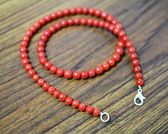 AAA Quality Natural Italian Coral Round Ball Shape Bead Necklace/ 4.0-5.0 mm / 16 Inch / Italian Coral