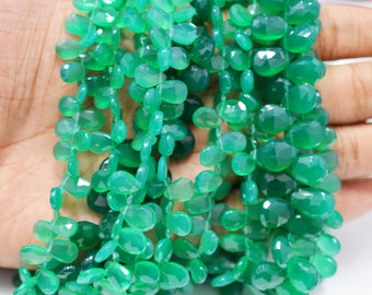 AAA quality Natural Green Onyx Pear shape Briolettes(finest quality)/ 7x9-8x11 mm / 4 inch