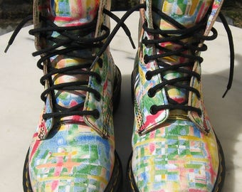Womens Rare Vintage Dr Martens Leather Multi Colour Boots ~ UK Size 3, EU Size 36, US Size 51/2 ~ Made in England ~ Pre Worn