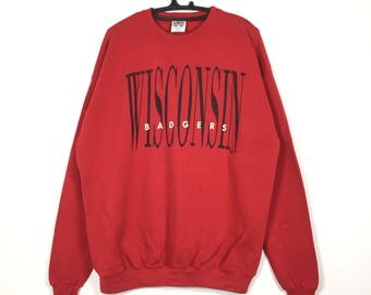 Free shipping Vintage 90s WISCONSIN BADGERS Crewneck