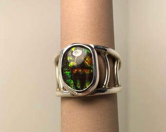 Silver and ammolite ring