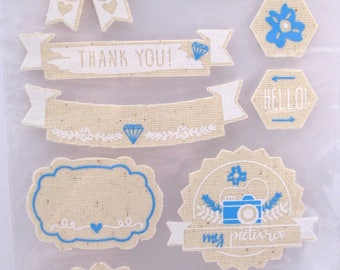 Tissue stickers - blue - white - hello - thank you - pictures - love - 9 stickers
