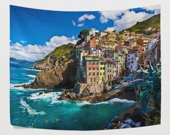 Italy Seaside Fisherman Village Tapestry Wall Hanging European Nature Landscape Wall Decor Art for Living Room Bedroom Dorm