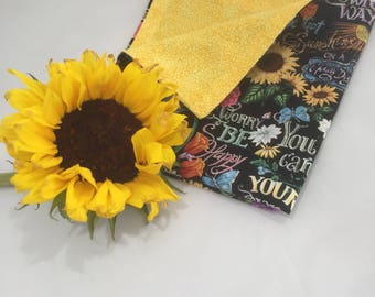 Floral (Featuring Sunflowers) Reversible Napkins, Multi-colored Double-sided Napkins,  Uplifting, Bright, Cheerful Cloth Napkins